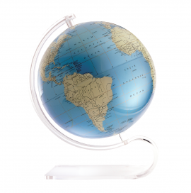 Blue & Ivory 12in. Diameter Sphere on Arc Base